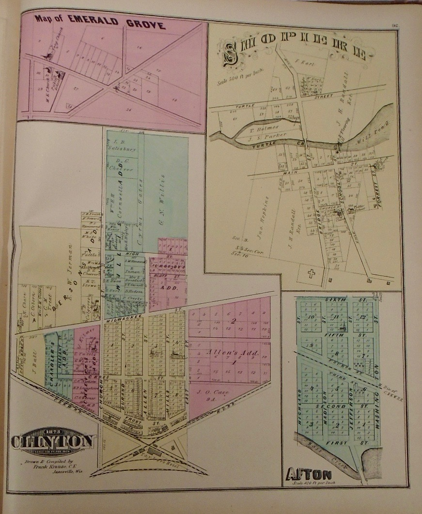 Map Of Emerald Grove Hopierre Afton And Clinton Wisconsin