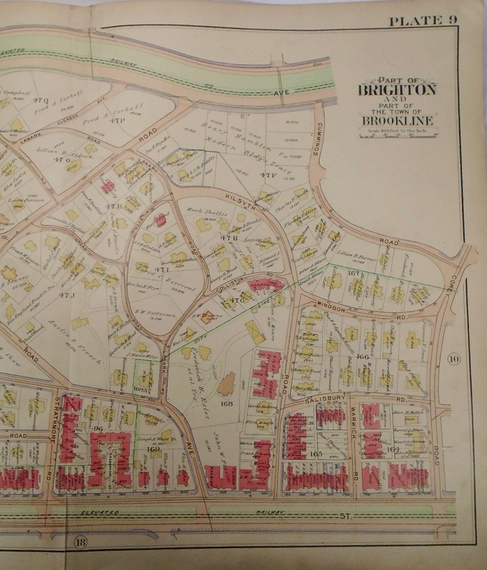 Map of Part of Brookline and Brighton, Machusetts by G. W. BROMLEY Map Of Brighton Machusetts on
