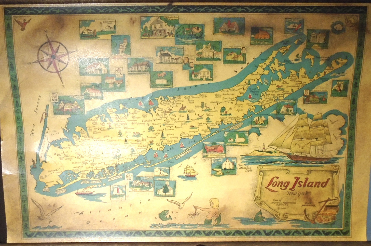 Map Of New York And Long Island.Long Island New York Small Wall Map By Catherine And Theodore Nelson On Yesterday S Gallery And Babylon Revisited Rare Books