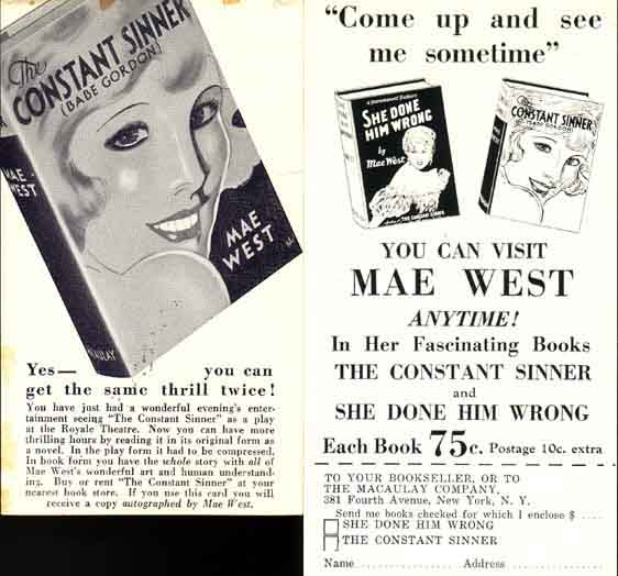 Two Macaulay Publisher Promotional Cards. Mae WEST