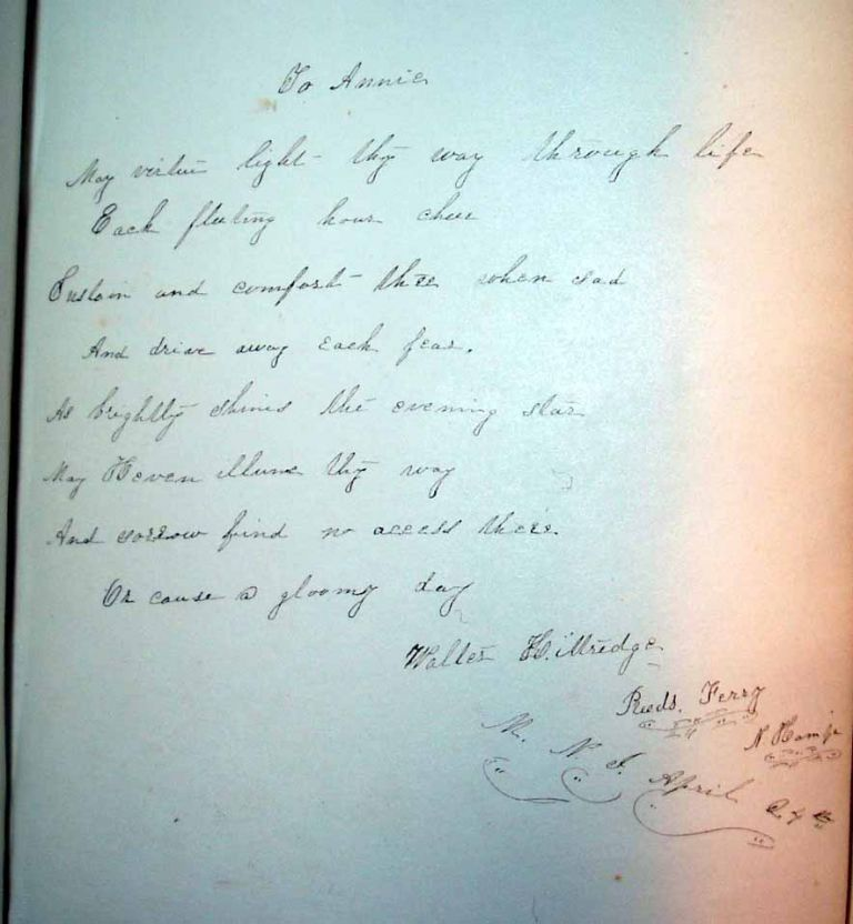 """Manuscript Poem """"To Annie"""", as found in an Autograph Album, together with Tenting on the Old Camp Ground [Book]. MANUSCRIPT POEM OF CIVIL WAR POET. Walter KITTREDGE."""
