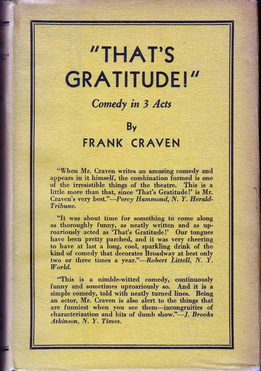 That's Gratitude. (HOLLYWOOD FICTION). Frank CRAVEN.
