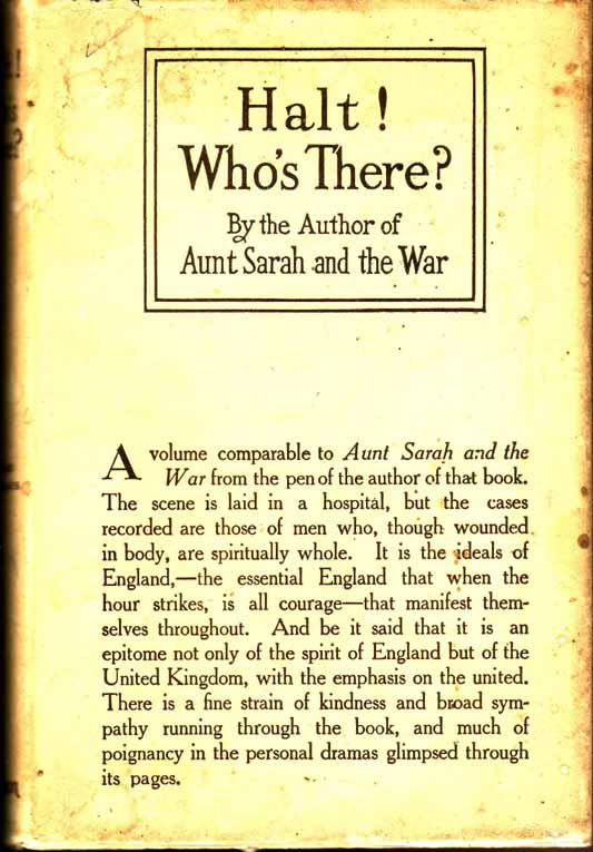 "Halt! Who's There? By the author of ""Aunt Sarah and the War"" (WORLD WAR ONE FICTION). ANONYMOUS."