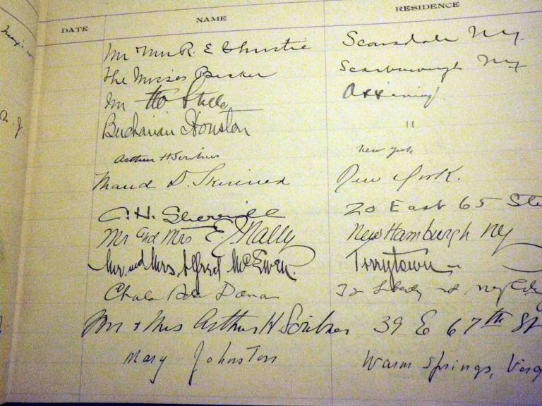 Autographs found in the Guest Book for The North American Review. Mary JOHNSTON, George CROSBY, Struthers BURT, Anton G. Hodenpyl, Robert Tristram Coffin, Arthur H. Scribner, William Lyon Phelps, Elizabeth Pennell, Herbert Claiborne Pell, Arthur Goodrich.