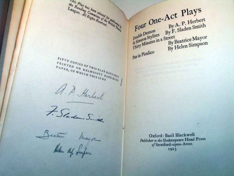 Four One-Act Plays. A. P. HERBERT, F. Sladen SMITH, Beatrice MAYOR, Helen SIMPSON