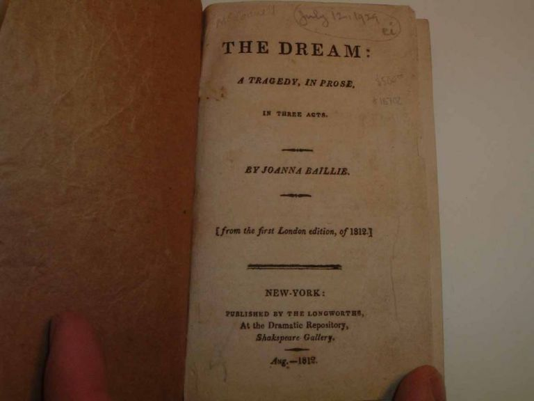 The Dream: A Tragedy, in Prose. In Three Acts. Joanna BAILLIE
