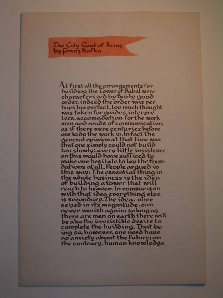 The City Coat of Arms with Signed Serigraph. Franz KAFKA, Edward August LANDON.