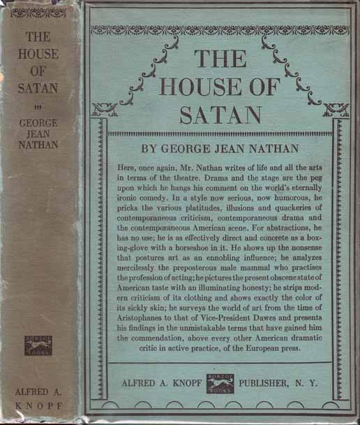 The House Of Satan. George Jean NATHAN.