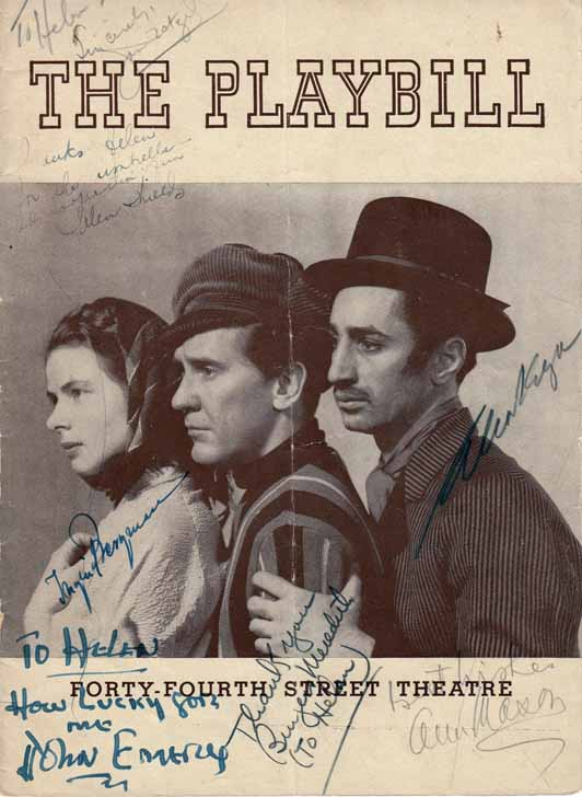 Playbill Signed by the Cast of LILIOM. Ingrid BERGMAN, Burgess MEREDITH, Helen SHEILDS, Elia...