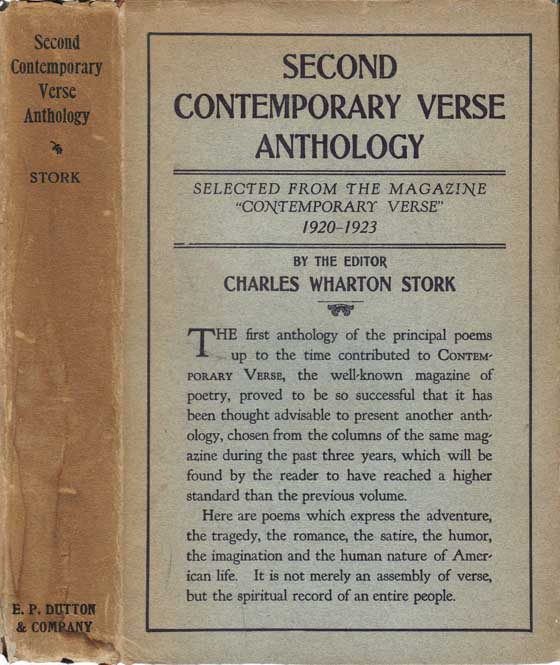 "Second Contemporary Verse Anthology, Selected from the Magazine ""Contemporary Verse"" 1920 - 1923...."