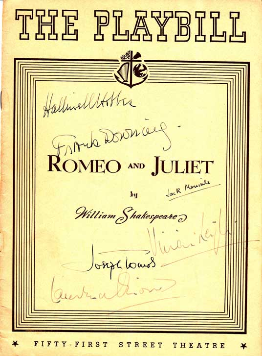 Playbill Signed by the Cast of Romeo and Juliet. Laurence OLIVIER, Vivien LEIGH, Jack MERIVALE,...