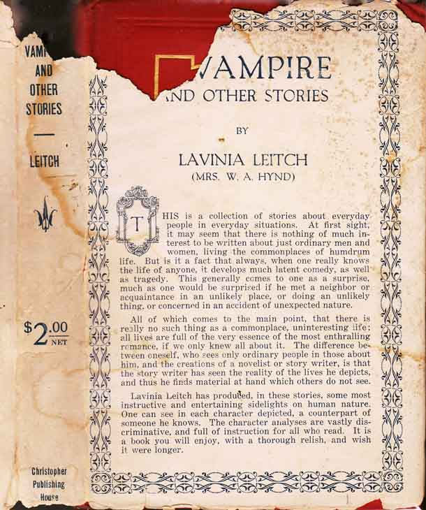 A Vampire and Other Stories. Lavinia LEITCH, Mrs. W. A. HYND