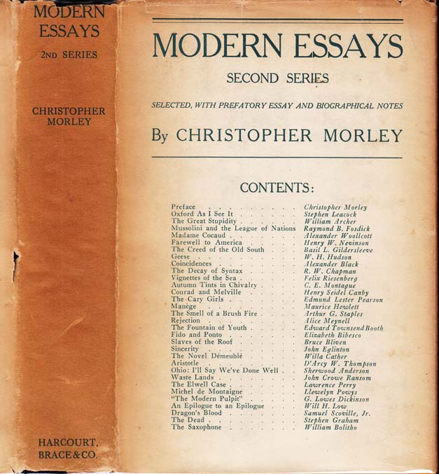 Modern Essays (Second Series) [SIGNED]. Christopher MORLEY, Stephen LEACOCK Willa CATHER, John...