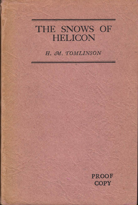 The Snows of Helicon. H. M. TOMLINSON.