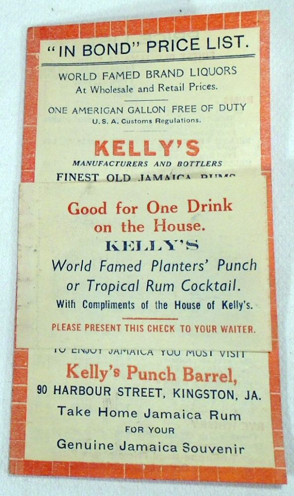 Kelly's Punch Barrel, World Famous Brand Liquors 'In Bond' Price List [COCKTAIL RECIPES]. KELLY'S...