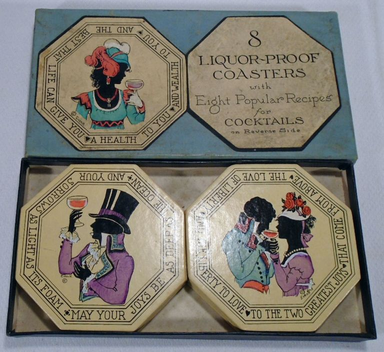 8 [Eight] Liquor Proof Coasters with Eight Popular Recipes for Cocktails on Reverse Side. COCKTAIL COASTERS.