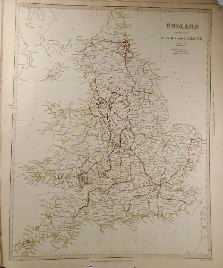 A Map of England With Its Canals and Railways. Baldwin, Gradoc