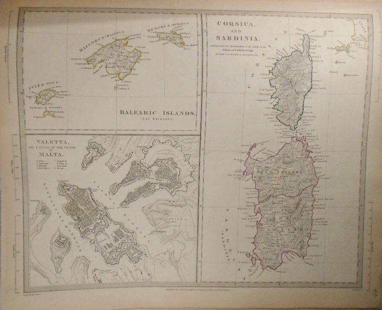 Map of Corsica and Sardinia. Baldwin, Gradoc