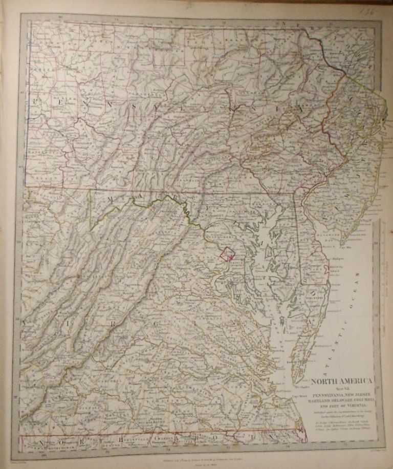 Map of North America: Pennsylvania, New Jersey, Maryland, Delaware, Columbia, and Part of...