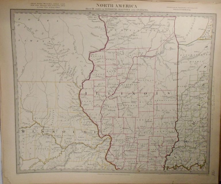 Map of North America: Part of Missouri, Illinois, and Indiana. Baldwin, Gradoc.