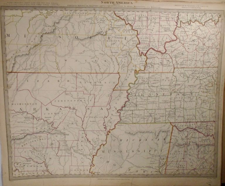Map of North America: Parts of Missouri, Illinois, Kentucky, Tennessee, Alabama, Mississippi, and...