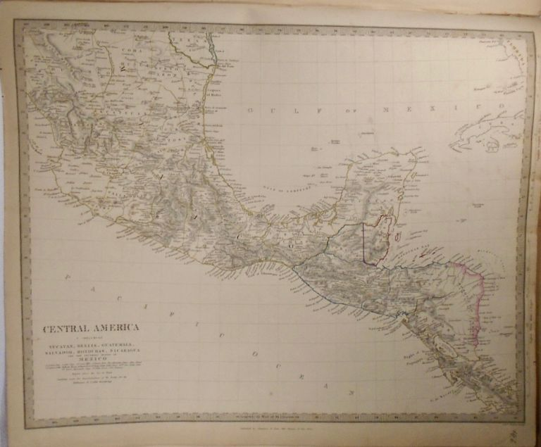 Map of Central America. Including: Yucatan, Belize, Guatemala, Salvador, Honduras, Nicaragua, and...