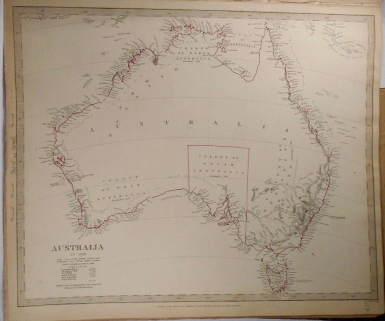 Map of Australia in 1839. Baldwin, Gradoc