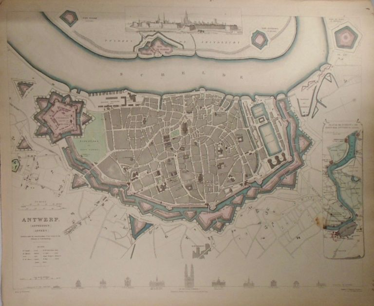 Map of Antwerp (Antwerpen) (Anvers). Baldwin, Gradoc