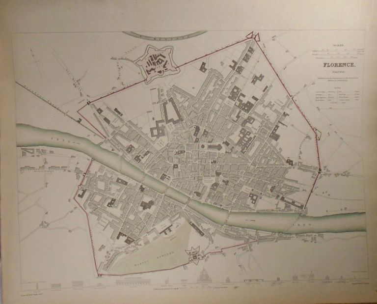 Map of Florence (Firenze). Baldwin, Gradoc.