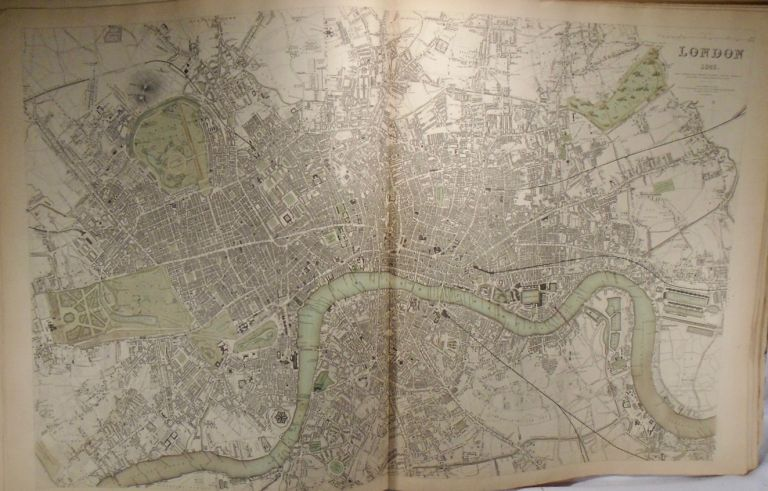 Map of London, 1843. Baldwin, Gradoc