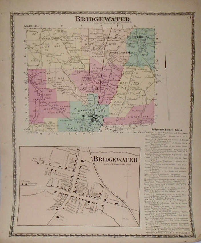 Map of Bridgewater, New York. D. G. BEERS