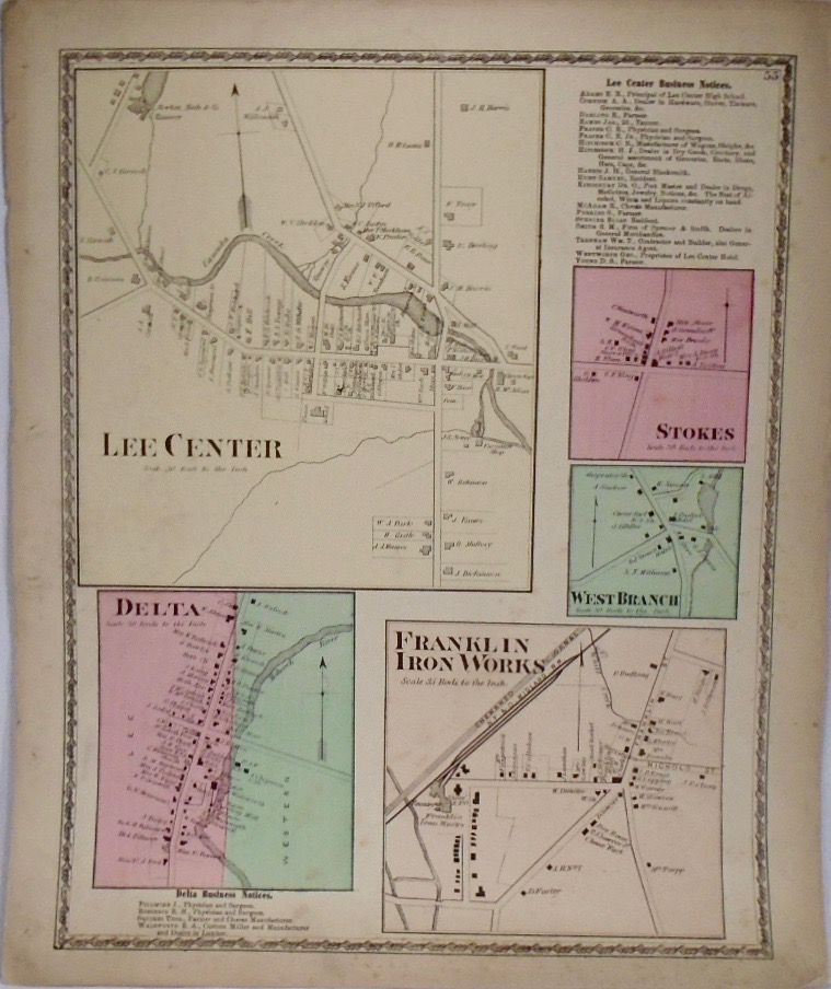 Map of Lee Center, Delta, Stokes, West Branch, and Franklin Iron Works, New York. D. G. BEERS