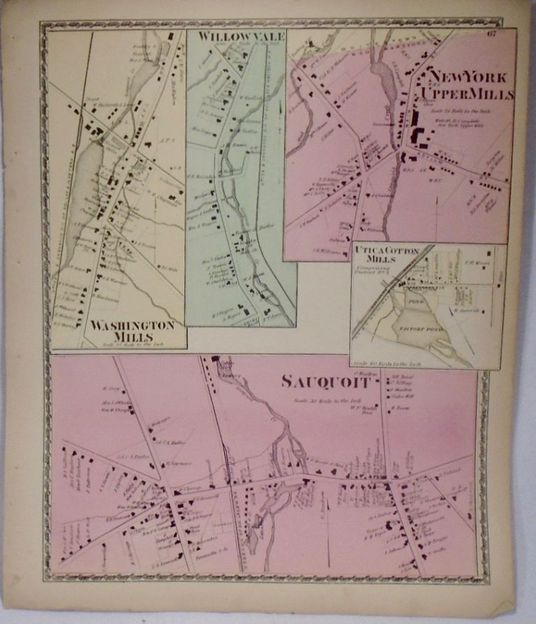 Map of Sauquoit and New York Upper Mills, New York. D. G. BEERS.