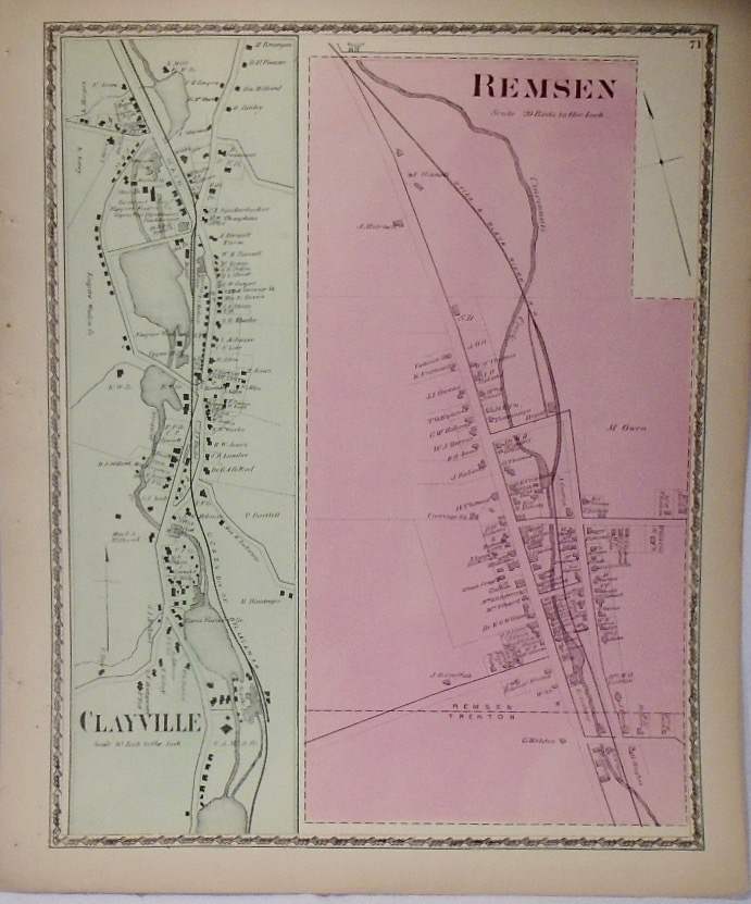 Map of Remsen, Clayville New York. D. G. BEERS.