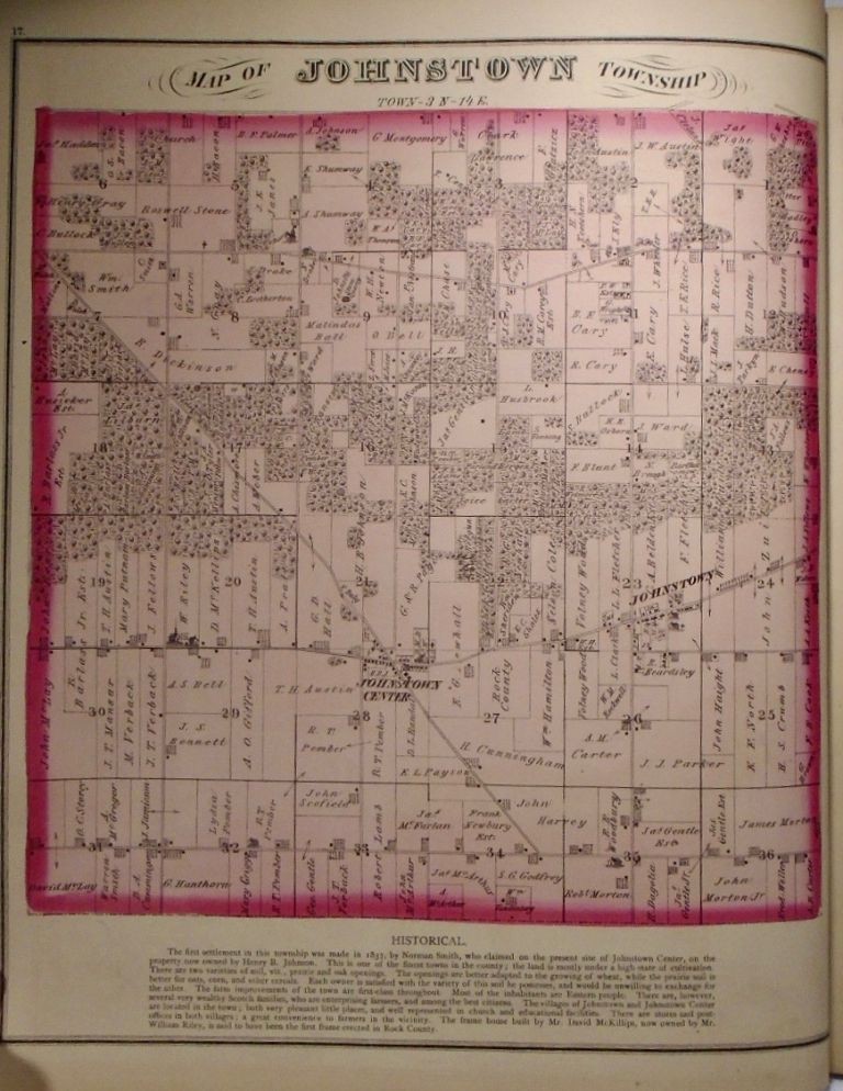 Map of Johnstown Township, Wisconsin. Frank KRAUSE.