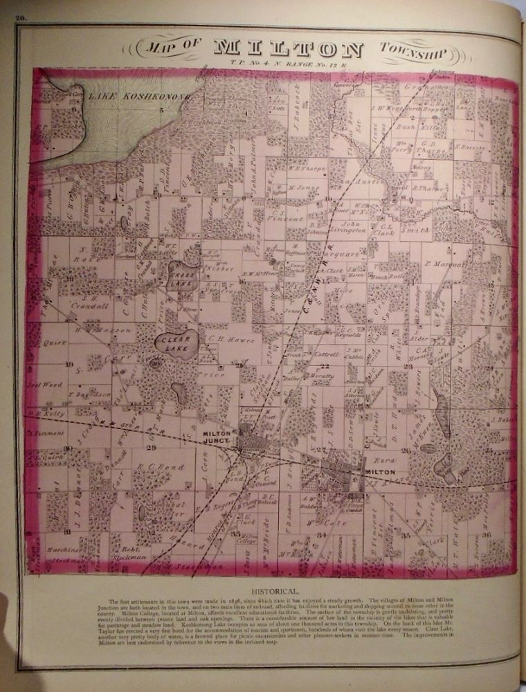 Map of Milton Township, Wisconsin. Frank KRAUSE.