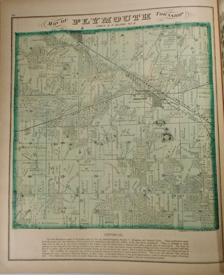 Map of Plymouth Township, Wisconsin. Frank KRAUSE.