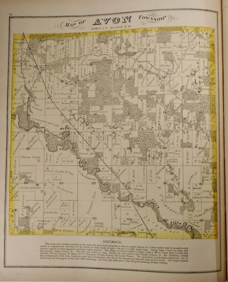 Map of Avon Township, Wisconsin. Frank KRAUSE.