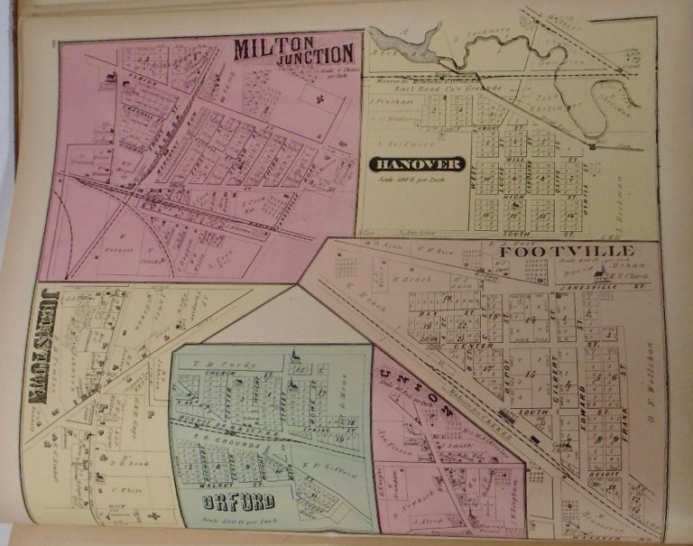 Map of Milton Junction, Hanover, Footville, Orford, and Johnstown Center, Wisconsin. Frank KRAUSE.