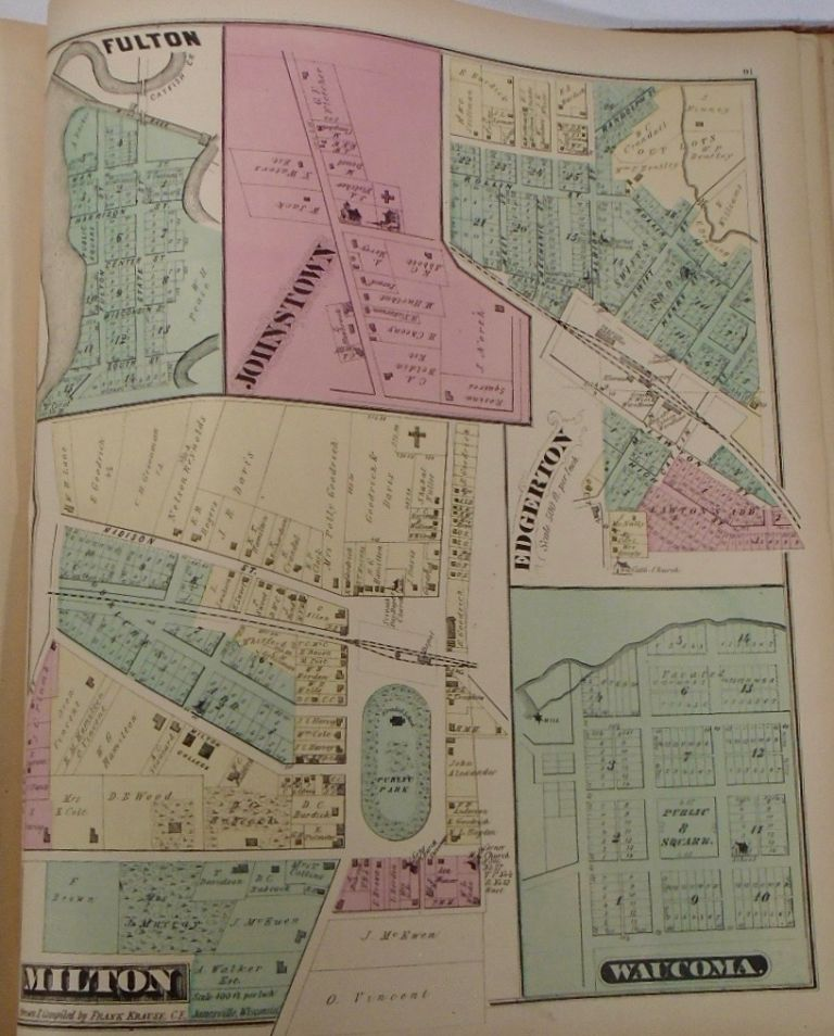 Map of Fulton, Johnstown, Edgerton, Waucoma, and Milton, Wisconsin. Frank KRAUSE.
