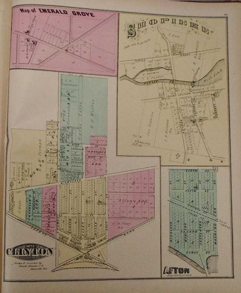 Map of Emerald Grove, Hopierre, Afton, and Clinton, Wisconsin. Frank KRAUSE.