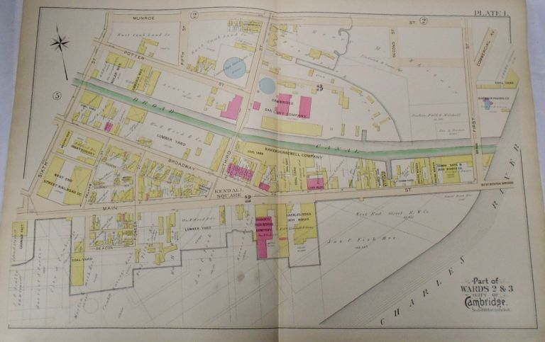 Map of Parts of Wards 2 and 3 in the City of Cambridge, Massachusetts. G. W. BROMLEY.