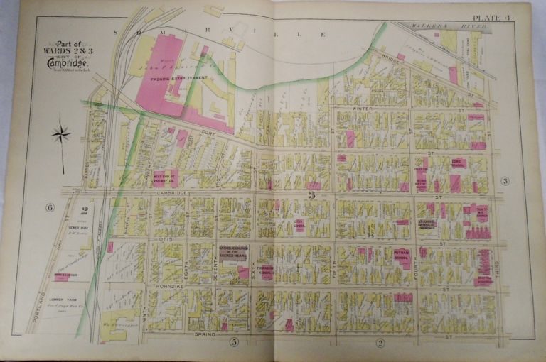 Map of Parts of Wards 2 and 3 in the City of Cambridge, Massachusetts. G. W. BROMLEY