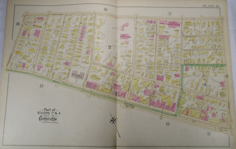 Map of Part of Wards 2 and 4 in Cambridge, Massachusetts. G. W. BROMLEY