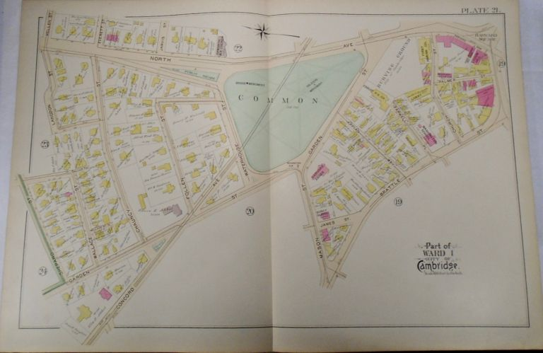 Map of Part of Ward 1 in Cambridge, Massachusetts. G. W. BROMLEY.