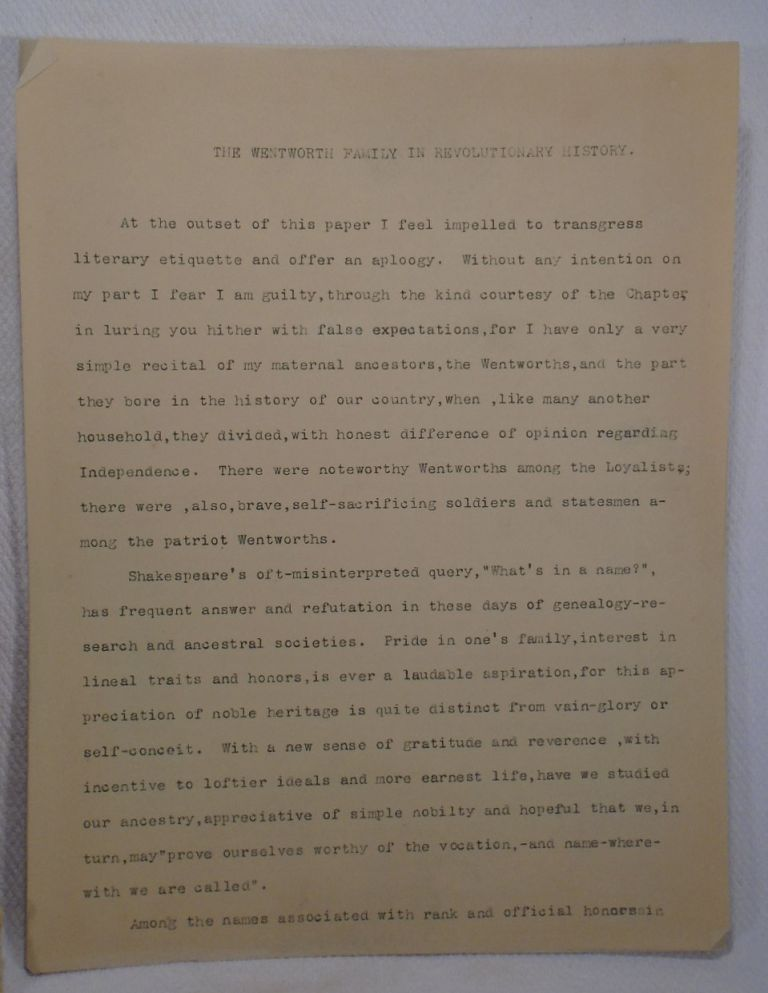 Original Manuscript: Wentworth Family in Revolutionary History, typed manuscript [Genealogy]....