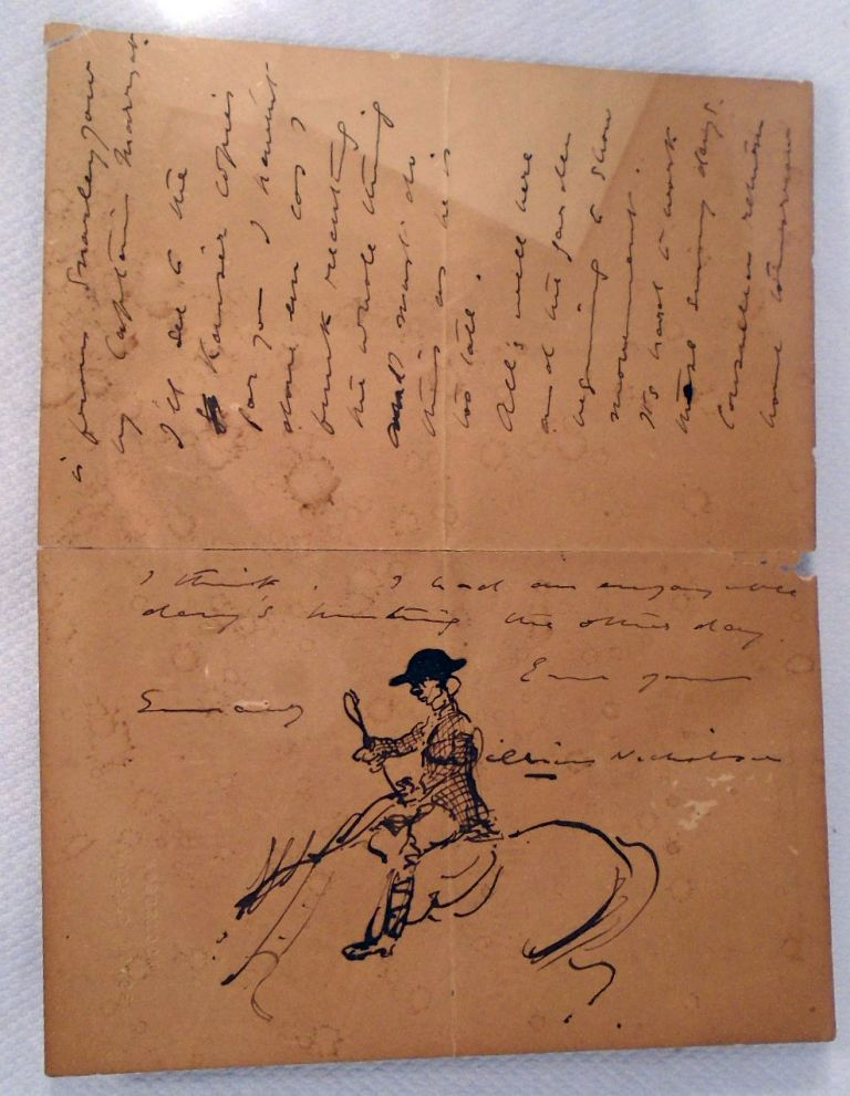 Manuscript Letter and Ink Drawing. William Sir NICHOLSON, ARTIST.