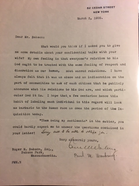 Archive of Correspondence of Roger W. Babson. John Hays HAMMOND, George B. CORTELYOU, Nathan...