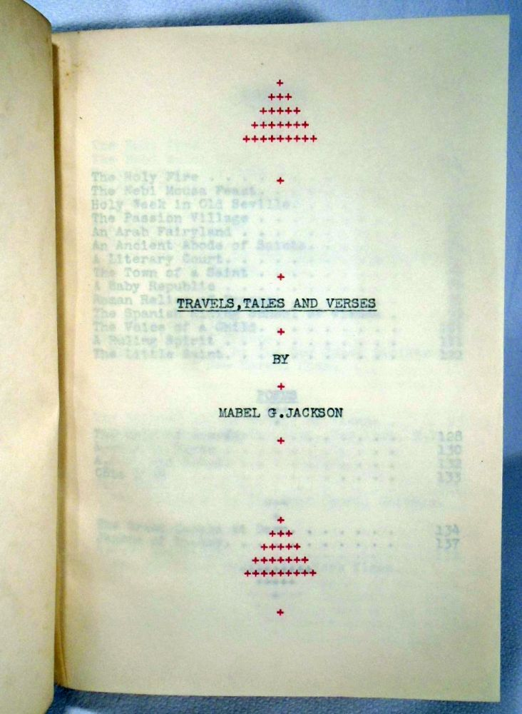 Original Typescript Manuscript: Travels, Tales and Verses. Mabel G. JACKSON