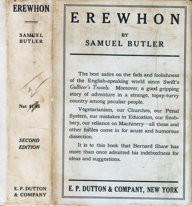 Erewhon or Over the Range. Samuel BUTLER.